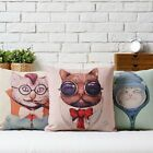 "Fashion Cartoon Lovely Cat Sofa Decor Pillow Case Cushion Cover Square 17"" Linen"