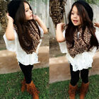 New 4PCS Baby Girl fashion lace coat + vest + leggings + scarf Outfit 2-6Y