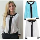 Fashion Women's Casual Chiffon Long Sleeve Shirts OL Work Loose Blouse Tops - CB