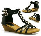 WOMENS LADIES STRAPPY GLADIATOR SUMMER DRESS BEACH MID HEEL WEDGE SANDALS SHOES