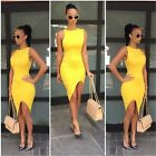 New Women Summer Yellow Bandage Sexy Sleeveless Round Neck Slim Split Dress - CB