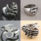 Unisex Masonic Military Claddagh Cross Superman Eagle Paw Stainless Steel Ring
