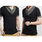 Mens Fashion Casual Slim fit Solid color V-Neck Short-sleeved T-shirt LA US A1