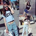 Korean Women Letters Print Cropped Crop Tops Blouse T-Shirt Shirt 3 Colors N4U8