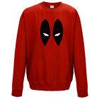 Deadpool Sweatshirt - Marvel Inspired Comics Eyes Face Kids & Mens Unisex Jumper