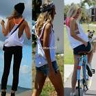 Women Ladies Crew Neck Braided Straps Summer Tank Tops Vest Blouse Shirt N4U8