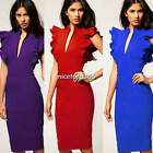 Womens Sexy V neck Bodycon Business Office Slim Party Cocktail Pencil Dress N4U8