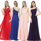 New Ladies One Shoulder Long Chiffon Bridesmaid Evening Party Prom Dresses 08034