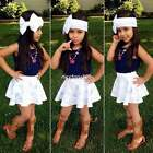 3PCs Baby Kids Girls Infant Child Top+Skirt+Headband Outfit Set Clothes 1-7Y U8