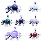 Charms Beads Natural Gemstone Jewelry Pendants For Necklace Silver Plated