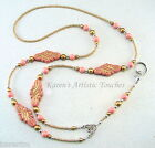 Victorian Pink Gold Swirls Beaded Lanyard ID Badge Holder