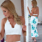 Clubwear Black Women's Summer Push Up Bustier Tops Backless Lace Blouse Crop Top