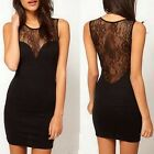 Charm Womens Mini Slim Lace Sheer Clubbing Cocktail Party Sleeveless Dress TB