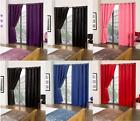 """Cali ECO Thermal Blackout Eyelet Curtains 65"""" x 72"""" Pink Beige Black Red Blue"""