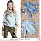 WF38 Celebrity Style Blouse Vintage Boyfriend Chambray Long Denim Shirt Top
