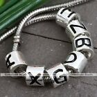 Big Hole Silver Plated 26 Alphabet Column Letter Charm European Bracelet Bead