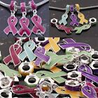 Enamel Breast Cancer Awareness Ribbon Large Hole Silver Plated Bracelet Pendant
