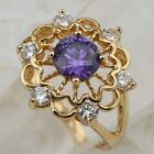 Size 5.5 6 7 9 Great Flower Amethyst  Jewelry Rose Gold Filled Woman Ring R2127