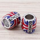 "Enamel London Flag ""LONDON"" Large Hole DIY Beads Fit European Charm Bracelet"