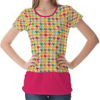 Multicolour Houndstooth Pattern Womens Ladies Short Sleeve Top Shirt Blouse