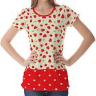 Red Green Strawberry Pattern Womens Ladies Short Sleeve Top Shirt Blouse