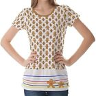 White Gingerbread Pattern Womens Ladies Short Sleeve Top Shirt Blouse