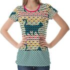 Multicolour Cats Curved Tails Womens Ladies Short Sleeve Top Shirt Blouse