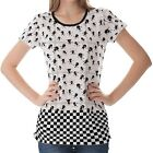White Tile With Happy Children Womens Ladies Short Sleeve Top Shirt Blouse