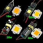 10/20/30/50WCool/Warm White LED High Power Light Lamp Chip+Power Supply Driver