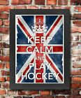 KC27 Framed Vintage Style Union Jack Keep Calm Play Hockey Funny Poster A3/A4