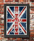 KC39 Framed Vintage Style Union Jack Keep Calm Party Hard Funny Poster A3/A4
