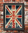 KCV16 Framed Vintage Style Union Jack Keep Calm Play Cricket Funny Poster A3/A4