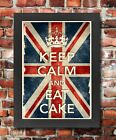 KCV20 Framed Vintage Style Union Jack Keep Calm Eat Cake Funny Poster A3/A4