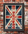 KCV24 Framed Vintage Style Union Jack Keep Calm Play Snooker Funny Poster A3/A4
