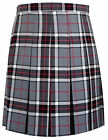 Ladies Girls Classic Black White Grey Red Tartan School Uniform Box Pleat Skirt
