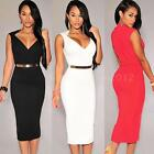 Womens Ladies V-Neck Bodycon Cocktail Party Slim Evening Dress Summer Dress