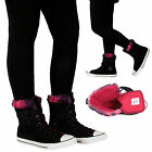 Converse Womens Ladies Hi Top Fur Collar Buckle Lace Trainers Boots Shoes Sizes