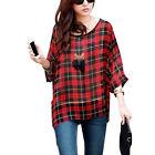 Women Pullover Batwing Sleeve Scoop Neck Check Print Semi Sheer Blouse