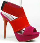 Fuchsia Pink Orange Red High Stiletto Heel Platform Sandal Anne Michelle