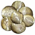 HC Lt. Bronze Gold Dp. Brown Floral Wave Leaf Jacquard Round Shape Cushion Cover