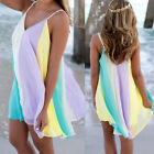 Boho Womens Chiffon Rainbow Vest Top Summer Beach Casual Blouse Skirt Dress
