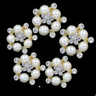 2 / 5 Pcs Clear Rhinestone Glass Faux Pearl Buttons Flower Sewing Button Craft