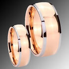 His Her's Tungsten Rose Gold IP Dome Silver Two Tone 2pc Ring Set SZ 4-14