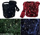 GREEN BLACK BLUE BURGUNDY VELVET MIRROR HIPPY HANDBAG SHOULDER BAG BIKER GOTH #S