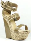Tan Beige Open Toe w Buckle Strap High Heel Platform Wedge Sandal Peace-16
