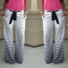 Summer Women's Stripe Casual Stretch Pants Wide Leg Long Loose Palazzo Trousers