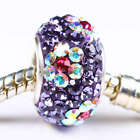 Purple Crystal Rhinestone 925 Sterling Silver Spacer Bead Fit European Bracelet