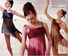 NWT LYRICAL Contemporary Dance Costume w/shorts 3 colors ch/ladies sheer overtop