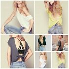 1pc Womens Shirt Backless Short Sleeve Casual Blouse Crop Tops Multi-Color WFR