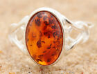 BALTIC AMBER RING * STERLING SILVER * COGNAC p6  7 3/4